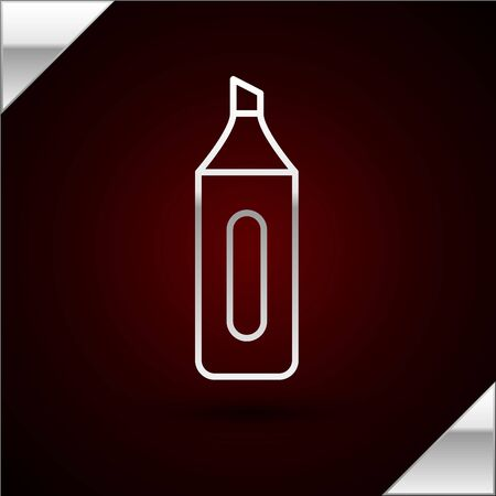 Silver line Marker pen icon isolated on dark red background. Vector Illustration