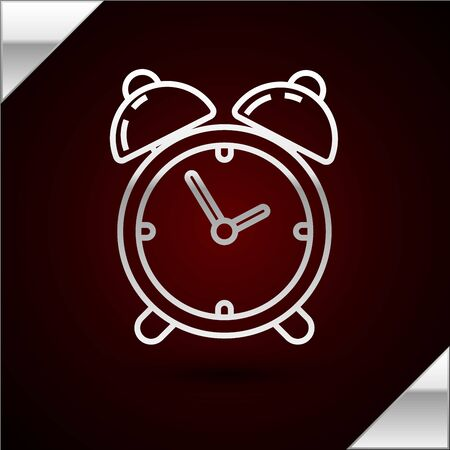 Silver line Alarm clock icon isolated on dark red background. Wake up, get up concept. Time sign. Vector Illustration