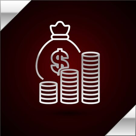 Silver line Money bag and coin icon isolated on dark red background. Dollar or USD symbol. Cash Banking currency sign. Vector Illustration