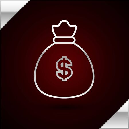 Silver line Money bag icon isolated on dark red background. Dollar or USD symbol. Cash Banking currency sign. Vector Illustration