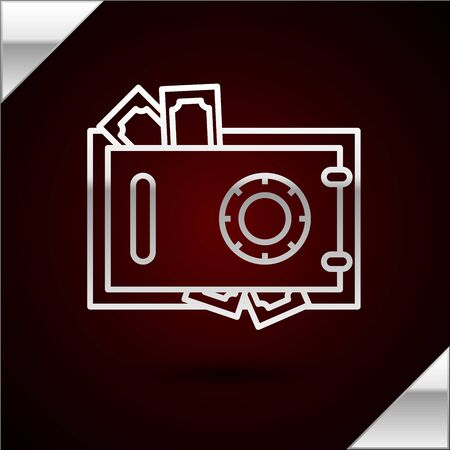 Silver line Safe and money icon isolated on dark red background. The door safe a bank vault with a combination lock. Reliable Data Protection. Vector Illustration