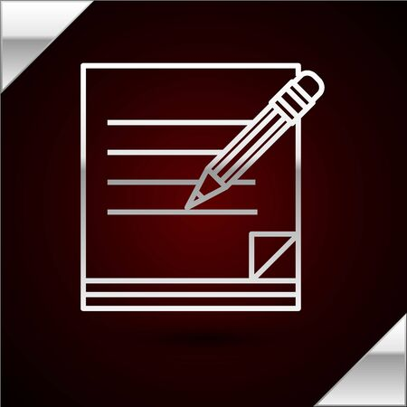 Silver line Blank notebook and pencil with eraser icon isolated on dark red background. Paper and pencil. Vector Illustration 版權商用圖片 - 133398910