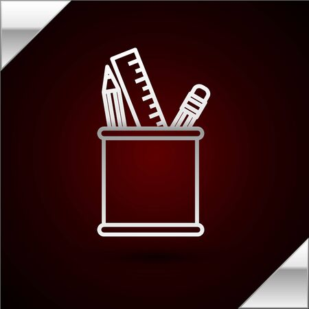 Silver line Pencil case stationery icon isolated on dark red background. Pencil, pen, ruler in a glass for office. Vector Illustration