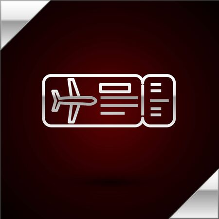 Silver line Airline ticket icon isolated on dark red background. Plane ticket. Vector Illustration