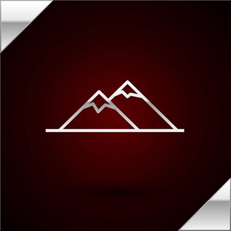 Silver line Mountains icon isolated on dark red background. Symbol of victory or success concept. Vector Illustration