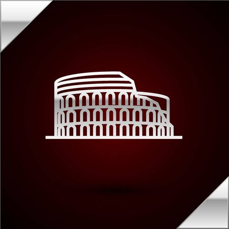 Silver line Coliseum in Rome, Italy icon isolated on dark red background. Colosseum sign. Symbol of Ancient Rome, gladiator fights. Vector Illustration