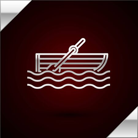 Silver line Fishing boat with oars on water icon isolated on dark red background. Vector Illustration
