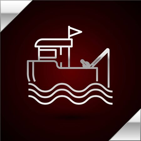 Silver line Fishing boat with fishing rod on water icon isolated on dark red background. Vector Illustration