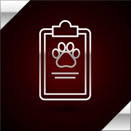 Silver line Clipboard with medical clinical record pet icon isolated on dark red background. Health insurance form. Medical check marks report. Vector Illustration
