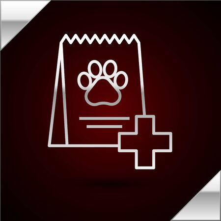 Silver line Bag of food for dog icon isolated on dark red background. Dog or cat paw print. Food for animals. Pet food package. Vector Illustration Standard-Bild - 133398363