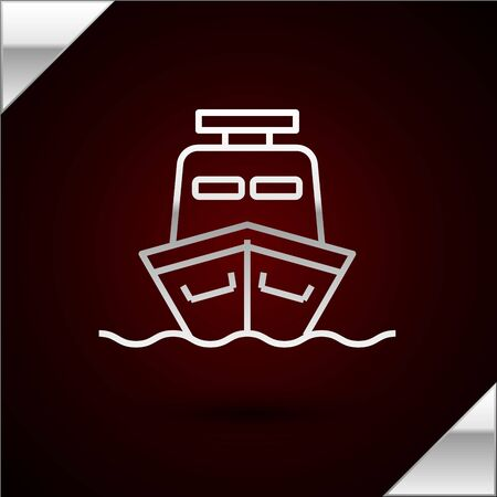 Silver line Ship icon isolated on dark red background. Vector Illustration 版權商用圖片 - 133398422