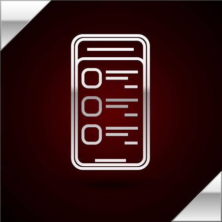 Silver line Online shopping on mobile phone icon isolated on dark red background. Online buying. Internet shop, mobile store app and payments billing. Vector Illustration Illustration