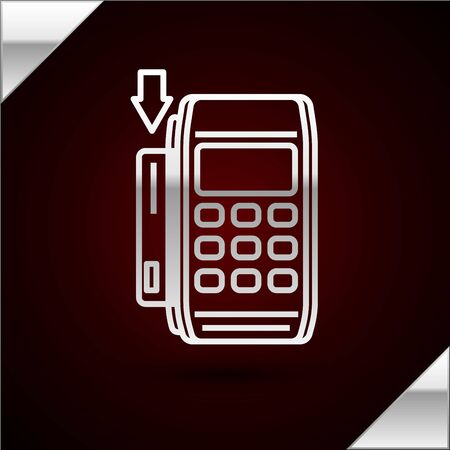 Silver line Pos terminal with inserted credit card icon isolated on dark red background. Payment terminal transaction. Pay by card. Vector Illustration Illustration