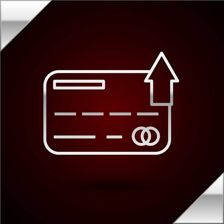 Silver line Credit card icon isolated on dark red background. Online payment. Cash withdrawal. Financial operations. Shopping sign. Vector Illustration
