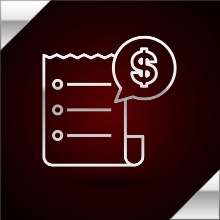 Silver line Paper check and financial check icon isolated on dark red background. Paper print check, shop receipt or bill. Vector Illustration