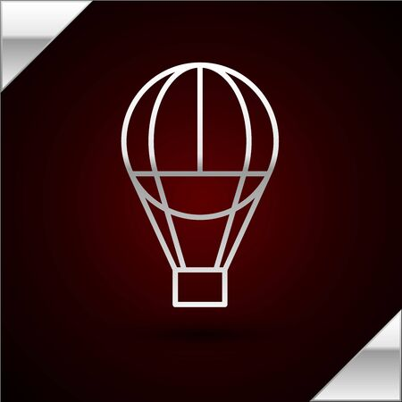 Silver line Hot air balloon icon isolated on dark red background. Air transport for travel. Vector Illustration