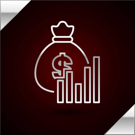 Silver line Money bag and diagram graph icon isolated on dark red background. Financial analytics, budget planning, finance managemen. Vector Illustration Ilustrace