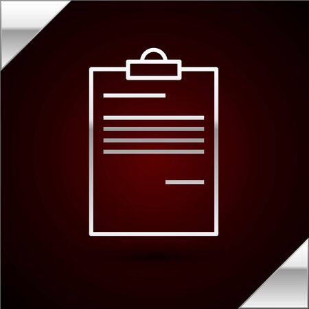 Silver line Document icon isolated on dark red background. File icon. Checklist icon. Business concept. Vector Illustration