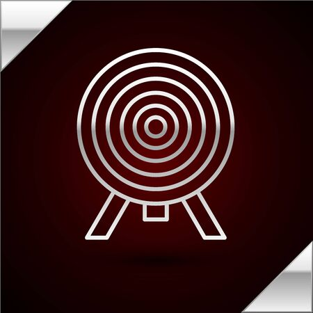 Silver line Target icon isolated on dark red background. Dart board sign. Archery board icon. Dartboard sign. Business goal concept. Vector Illustration