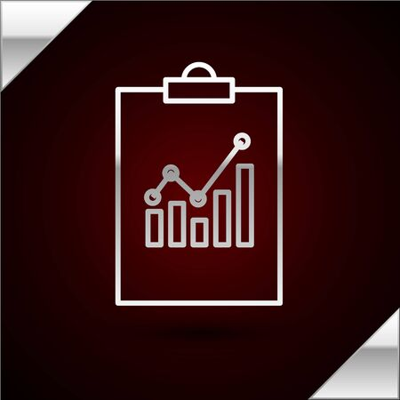 Silver line Clipboard with graph chart icon isolated on dark red background. Report text file icon. Accounting sign. Audit, analysis, planning. Vector Illustration