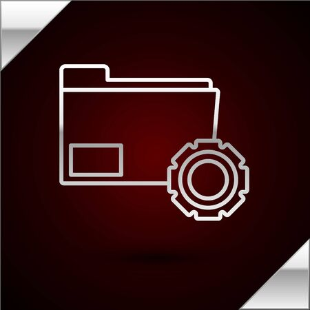 Silver line Folder settings with gears icon isolated on dark red background. Software update, transfer protocol, teamwork tool management, copy process. Vector Illustration