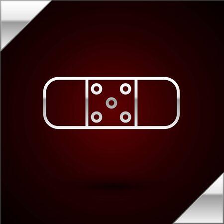 Silver line Bandage plaster icon isolated on dark red background. Medical plaster, adhesive bandage, flexible fabric bandage. Vector Illustration 일러스트