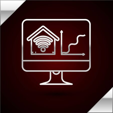 Silver line Computer monitor with smart home with wifi icon isolated on dark red background. Remote control. Vector Illustration