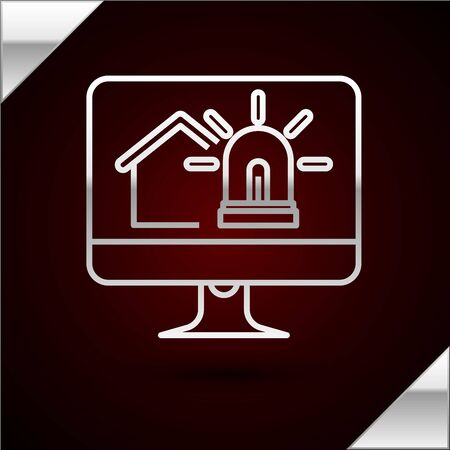 Silver line Computer monitor with smart house and alarm icon isolated on dark red background. Security system of smart home. Vector Illustration 일러스트
