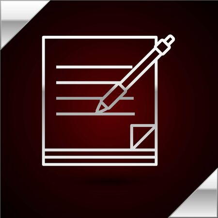 Silver line Blank notebook and pen icon isolated on dark red background. Paper and pen. Vector Illustration 向量圖像