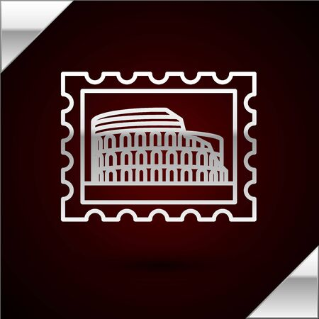 Silver line Postal stamp and Coliseum icon isolated on dark red background. Colosseum sign. Symbol of Ancient Rome, gladiator fights. Vector Illustration
