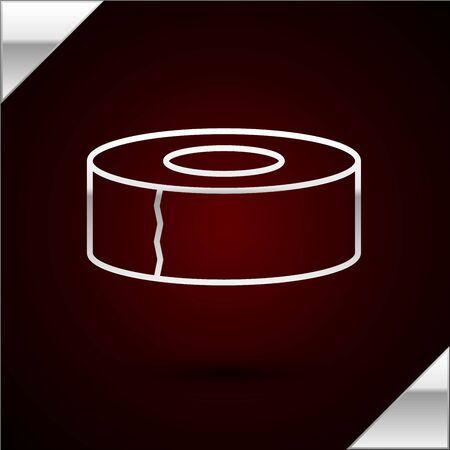 Silver line Scotch icon isolated on dark red background. Roll of adhesive tape for work and repair. Sticky packing tape. Office tool and stuff. Vector Illustration