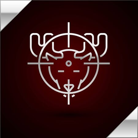 Silver line Hunt on moose with crosshairs icon isolated on dark red background. Hunting club icon with moose and target. Rifle lens aiming a moose. Vector Illustration