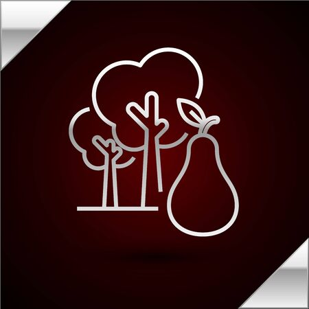 Silver line Tree with pears icon isolated on dark red background. Agricultural plant. Organic farm product. Gardening theme. Vector Illustration