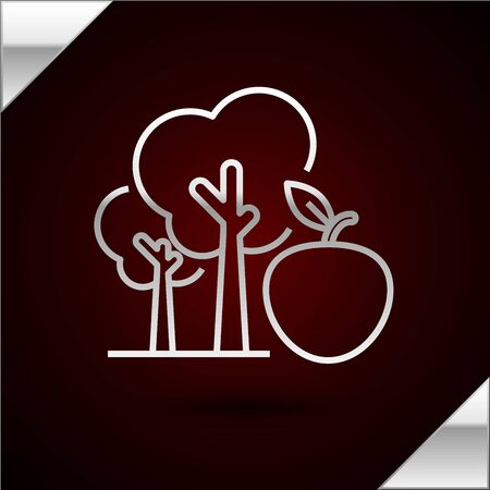 Silver line Tree with apple icon isolated on dark red background. Agricultural plant. Organic farm product. Gardening theme. Vector Illustration