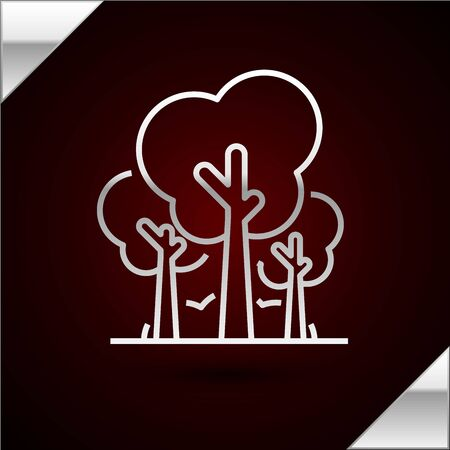 Silver line Trees icon isolated on dark red background. Forest symbol. Vector Illustration