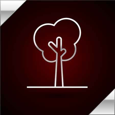 Silver line Tree icon isolated on dark red background. Forest symbol. Vector Illustration Stock Illustratie
