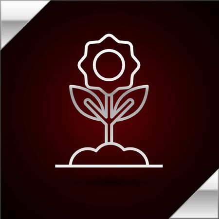 Silver line Flower icon isolated on dark red background. Vector Illustration