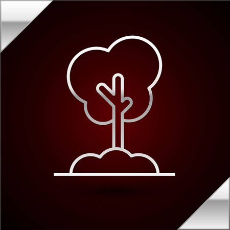 Silver line Tree in the ground icon isolated on dark red background. Forest symbol. Vector Illustration