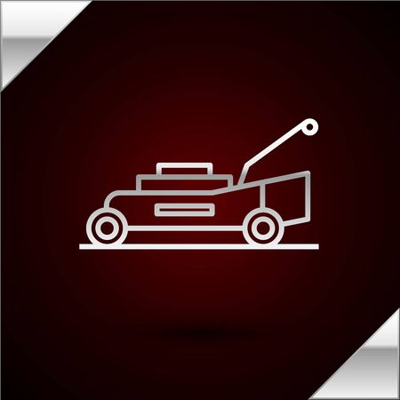Silver line Lawn mower icon isolated on dark red background. Lawn mower cutting grass. Vector Illustration