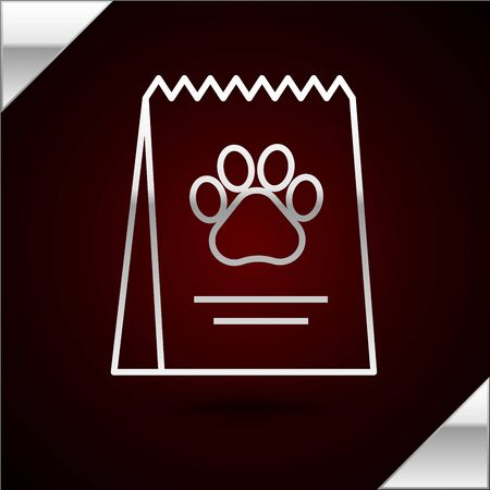 Silver line Bag of food for dog icon isolated on dark red background. Dog or cat paw print. Food for animals. Pet food package. Vector Illustration Standard-Bild - 133402215