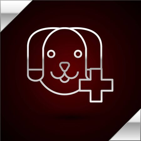 Silver line Veterinary clinic symbol icon isolated on dark red background. Cross with dog veterinary care. Pet First Aid sign. Vector Illustration
