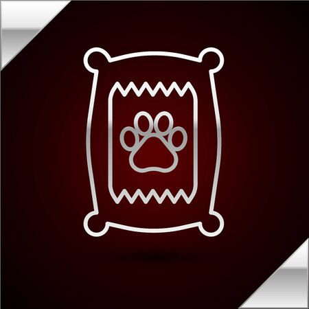 Silver line Bag of food for dog icon isolated on dark red background. Dog or cat paw print. Food for animals. Pet food package. Vector Illustration Standard-Bild - 133402840