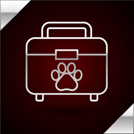 Silver line Pet first aid kit icon isolated on dark red background. Dog or cat paw print. Clinic box. Vector Illustration Stock Illustratie