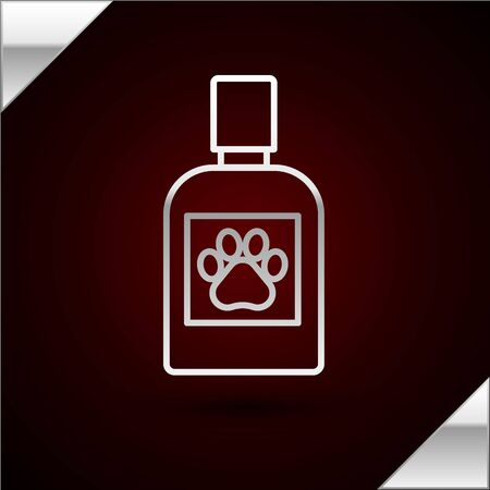 Silver line Dog medicine bottle icon isolated on dark red background. Container with pills. Prescription medicine for animal. Vector Illustration