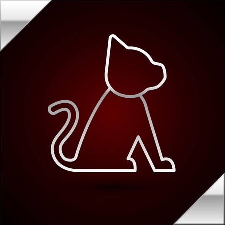 Silver line Cat icon isolated on dark red background. Vector Illustration Standard-Bild - 133402217