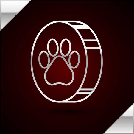 Silver line Paw print icon isolated on dark red background. Dog or cat paw print. Animal track. Vector Illustration Standard-Bild - 133402221