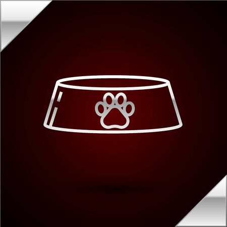 Silver line Pet food bowl for cat or dog icon isolated on dark red background. Dog or cat paw print. Vector Illustration