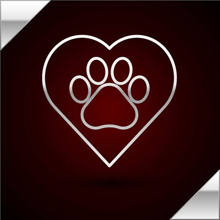 Silver line Heart with animals footprint icon isolated on dark red background. Pet paw in heart. Love to the animals. Vector Illustration