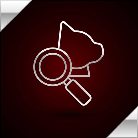 Silver line Veterinary clinic symbol icon isolated on dark red background. Magnifying glass with cat veterinary care. Pet First Aid sign. Vector Illustration Stock Illustratie