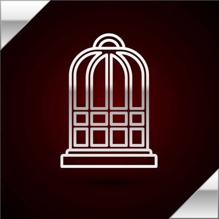 Silver line Cage for birds icon isolated on dark red background. Vector Illustration